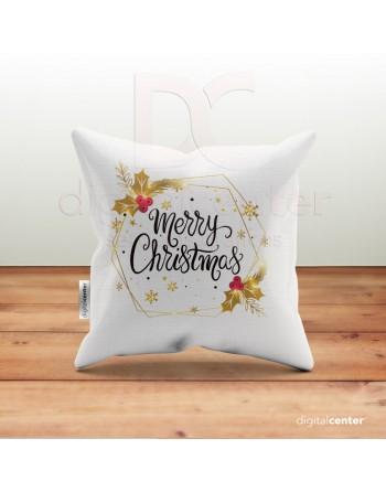 Cojín Merry Christmas dorado